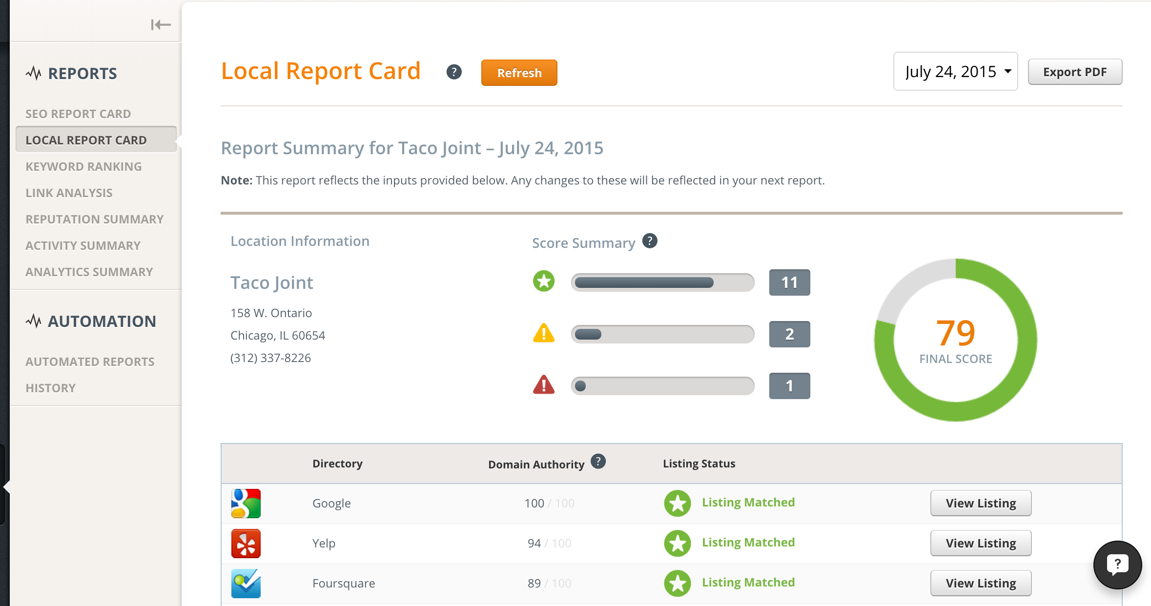 Product Update: Local Report Card is Now Available | Upcity