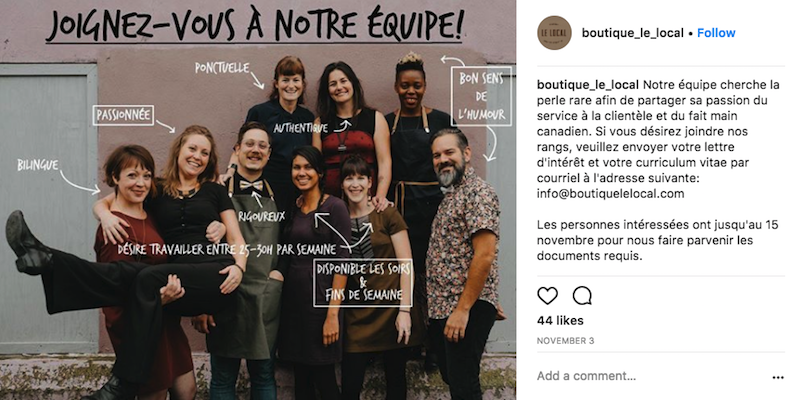 instagram boutique lelocal job posting