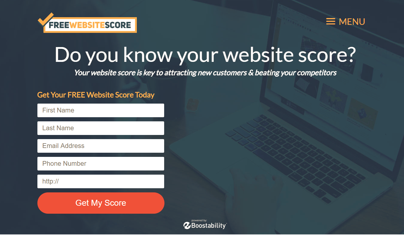 free website score landing page example