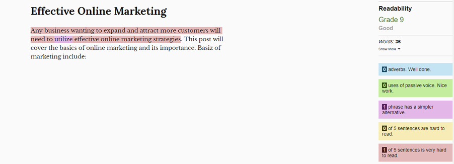 Hemingway Editor Example